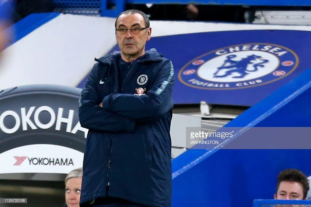 Chelsea's Italian head coach Maurizio Sarri watches from the touchline during the English FA Cup fifth round football match between Chelsea and Manchester United at Stamford Bridge