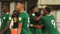 Super Eagles players celebrate win over Egypt