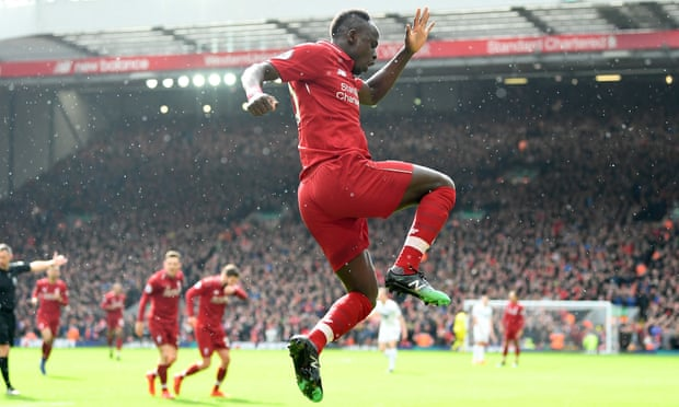Sadio Mané celebrates scoring Liverpool's second goal against Burnley.