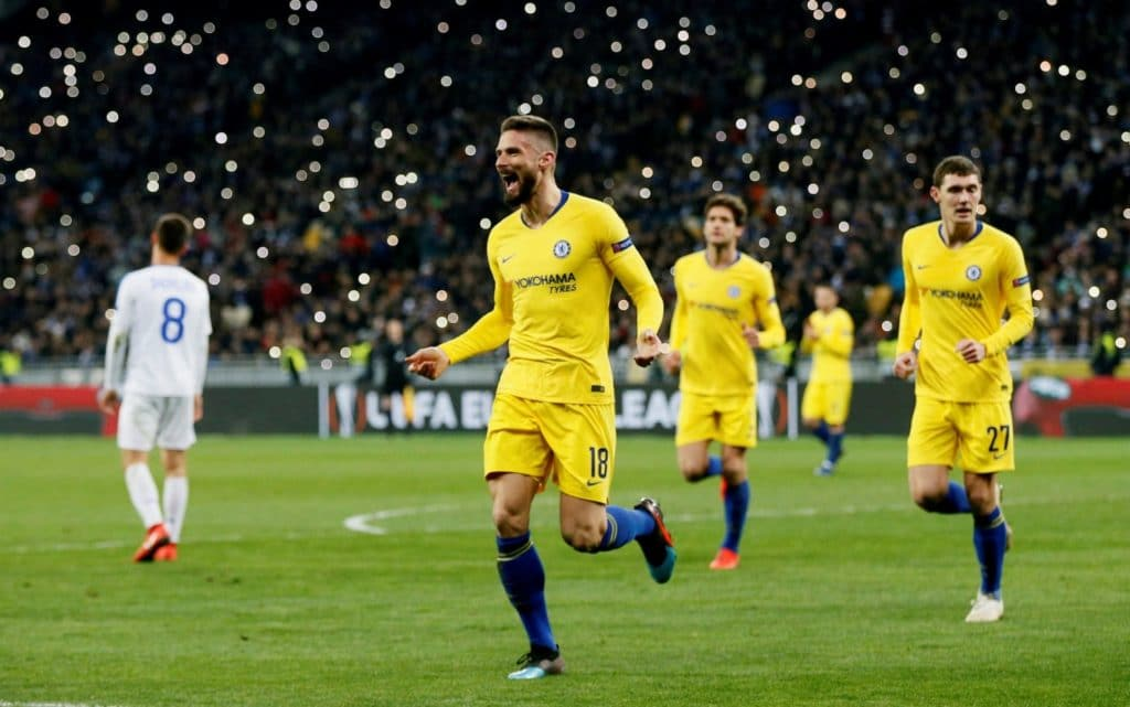 Chelsea striker, Olivier Giroud celebrates after scoring hat-trick vs Dynamo kiev yesterday