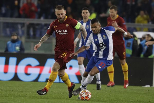 AS Roma Midfielder against FC Porto player during the UEFA Champions league match