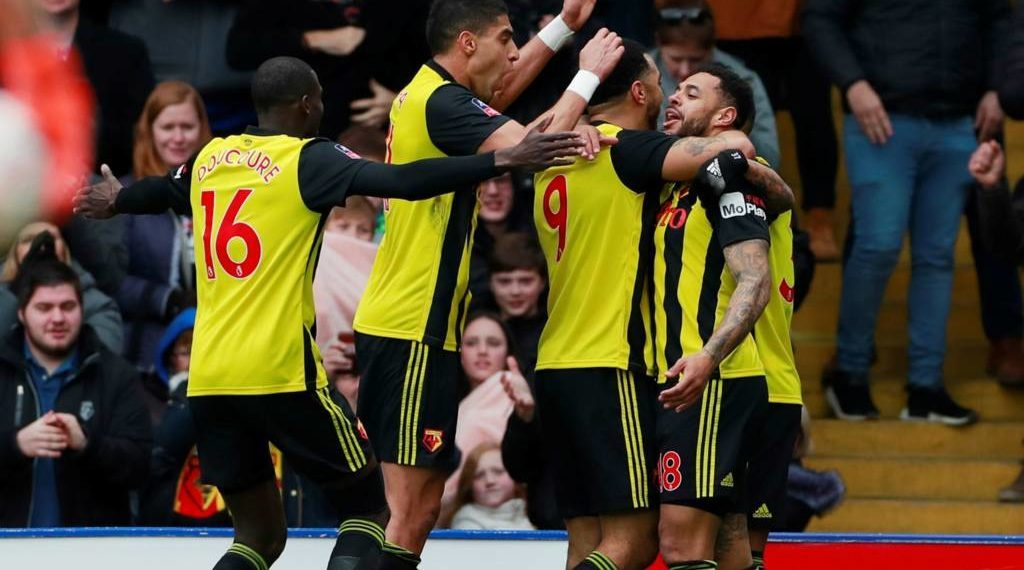 Watford players celebrate after the victory