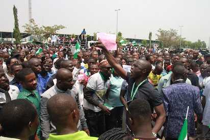 Youths during the protest at INEC office yesterday