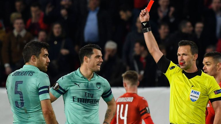 Socratis Shown red in their defeat against Rennes in Europa league yesterday