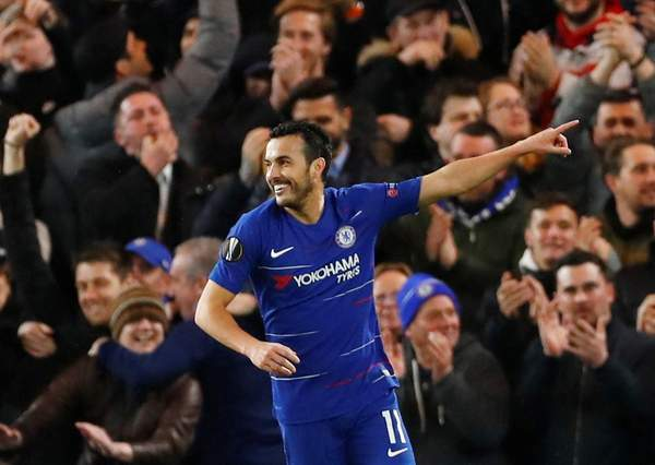 Pedro after scoring the opener yesterday