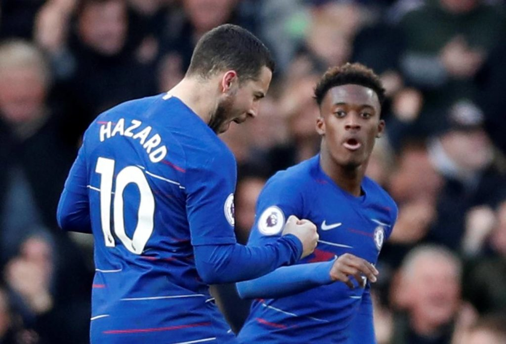 Hazard celebrates with Odoi after scoring the equalizer