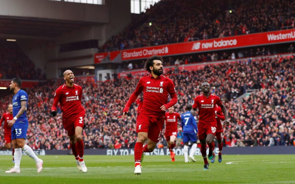 Mohammed Salah Celebrates after he scored in their win over Chelsea at Anfield