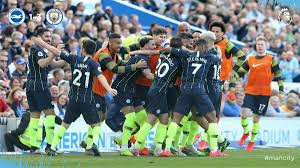 Manchester City players celebrates title win
