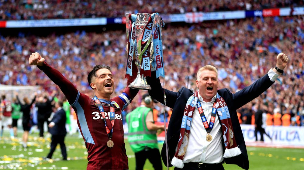 Aston villa celebrates their return to top flight