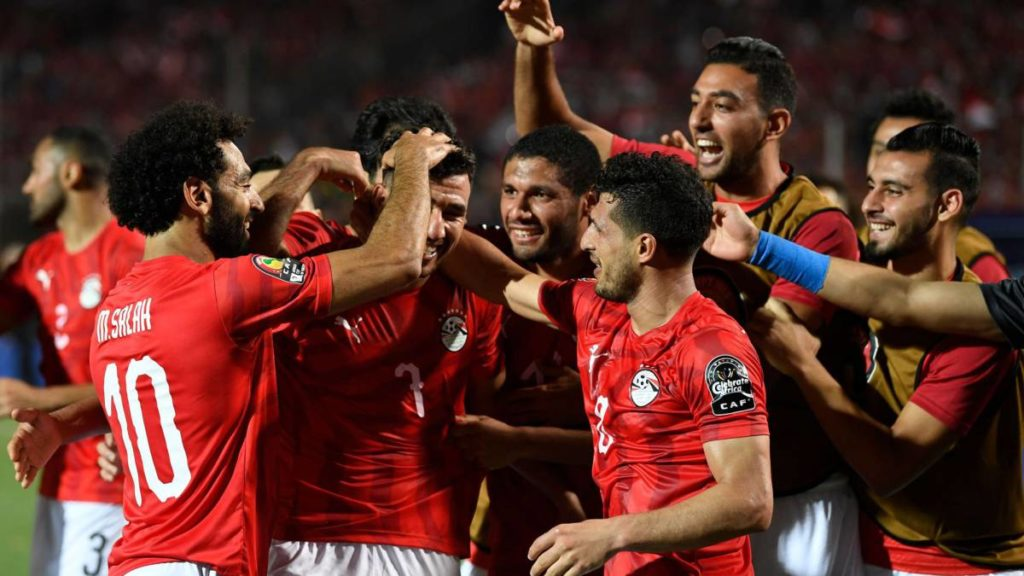 Egypt celebrate  Trezeguet's excellent strike
