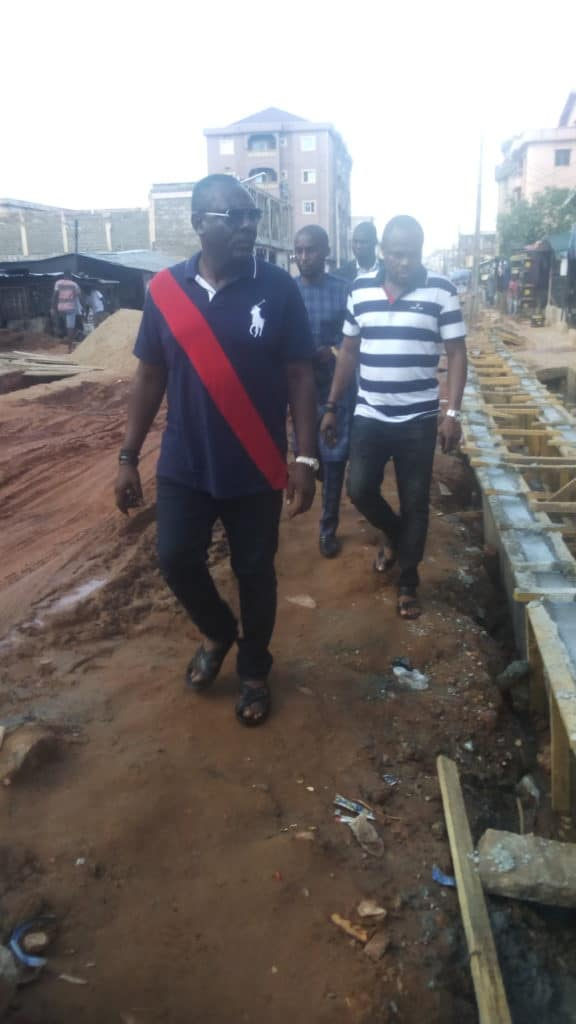 Hon. Prince Onyema Inspecting parts of the Project site at School road, Iyiowa community, Ogbaru