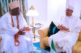Oba Adeyeye Ogunwusi with President Buhari yesterday