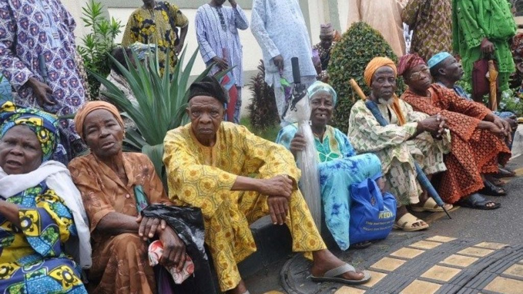 Cross section of Pensioners waiting     for verification 1