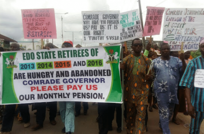 Edo State Pensioners protest