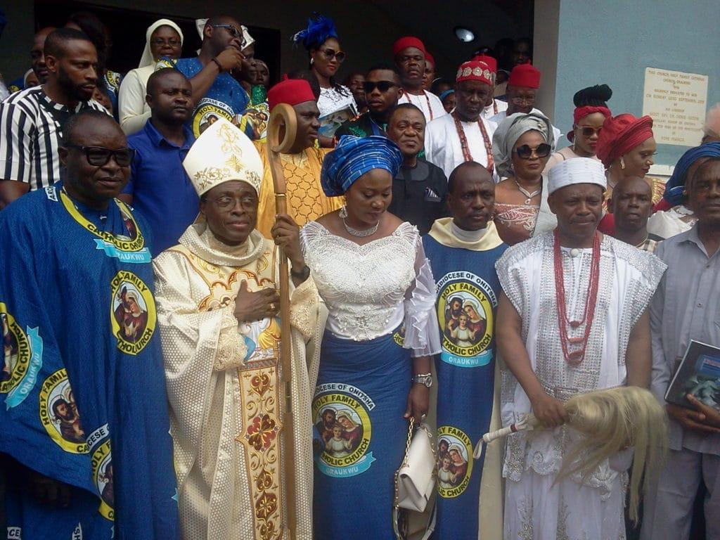 Bishop Isizor during the dedication of Holy family Church Oraukwu