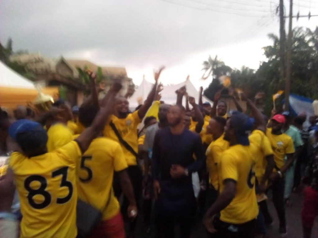 Aspire FC of Adazi-Ani  financier, Dr Emeka Okeke celebrates with players
