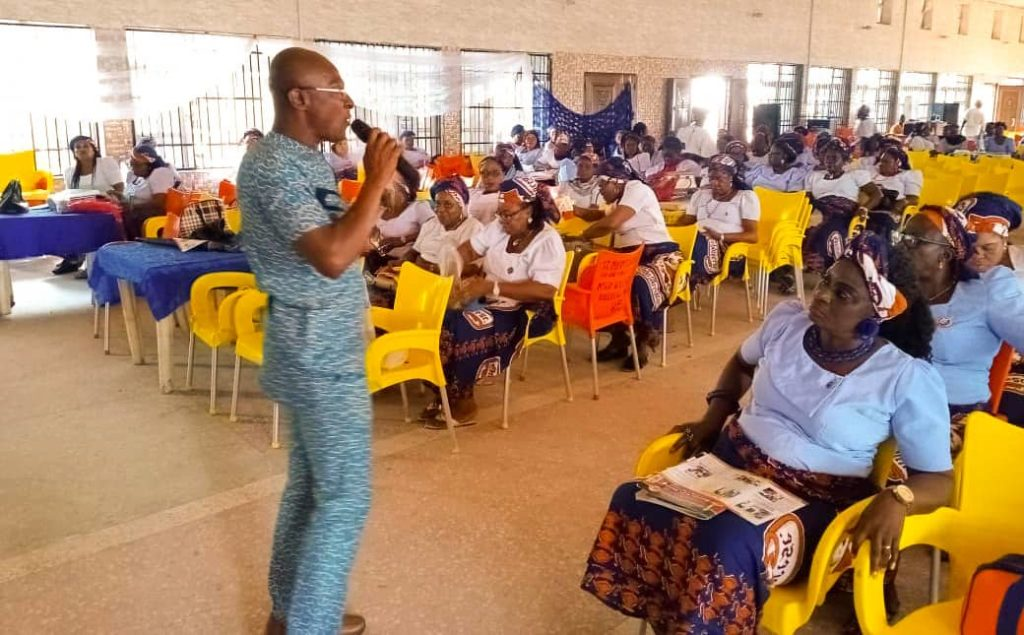PICS: A NOA Community Mobilization Officer sensitizing Women on EFPs during the recent Women August meeting in Anambra state