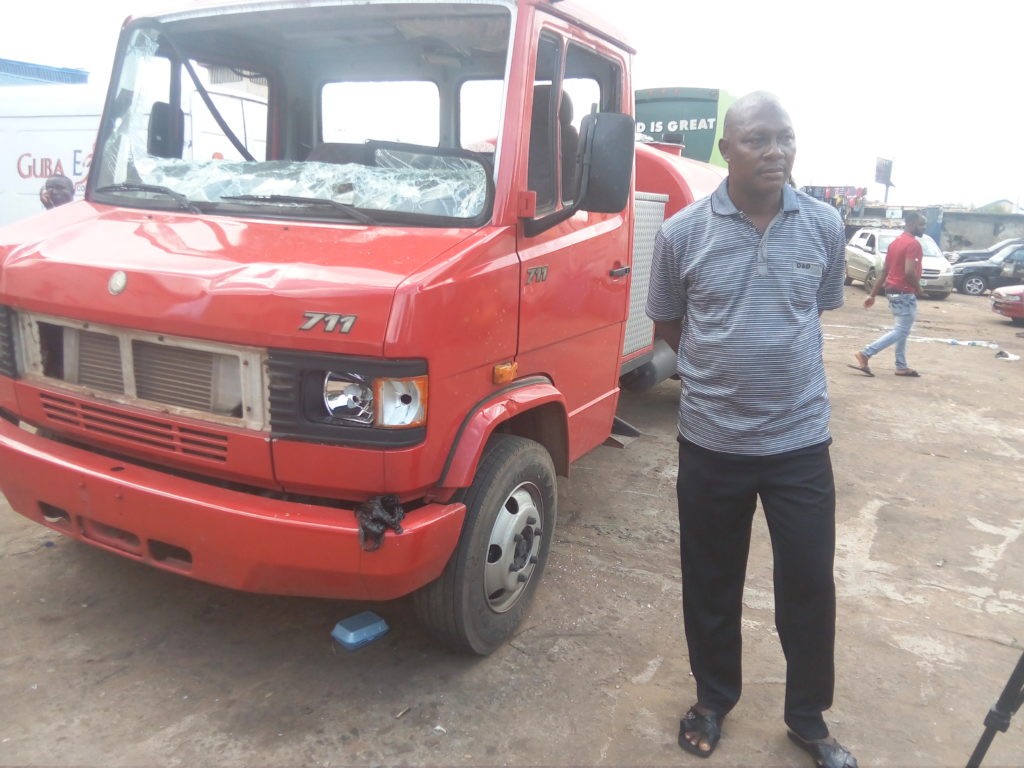 Chief Okeke lamented that his brand new Mercedes 711 fire truck was destroyed by hoodlums and his rescue team beaten up