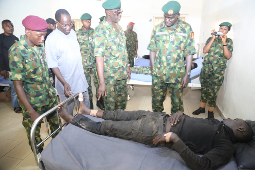 During Visit  to Wounded In Action soldiers  at the Federal Medical Centre Gusau