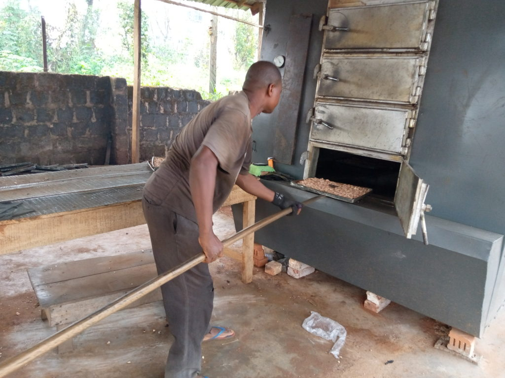 Photos of Mr Hycent Azubuike in his oven bringing out baked cashew nuts.